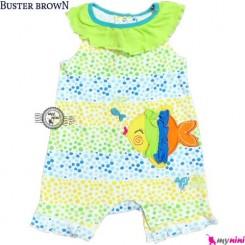 سرهمی شورتی دخترانه 6 تا 9 ماه ماهی باستر براون Buster Brown baby rompers
