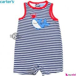 سرهمی شورتی بچه 9 تا 12 ماه کوسه راه راه کارترز Carter's baby rompers