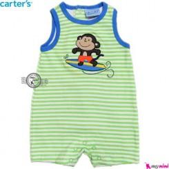 سرهمی شورتی کودک 6 تا 9 ماه سبز میمون کارترز Carter's baby rompers