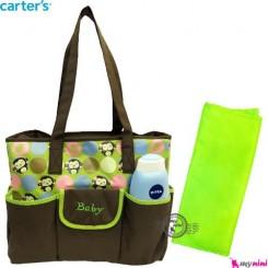 ساک لوازم نوزاد 2 تکه برزنتی سبز میمون سیسمونی baby diaper bag
