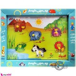 پازل چوب چین دکمه دار حیوانات جنگل نوزاد و کودک Educational toys