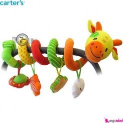 آویز کریر و تخت پیچ پیچی عروسکی گاو کارترز Carter's baby play activity spiral