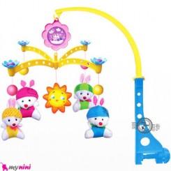 آویز تخت پولیشی موزیکال نوزاد و کودک خرگوش Baby musical mobile