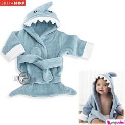 حوله تن پوش نوزاد و کودک آبی کوسه اسکیپ هاپ Skip Hop baby hooded bath towel