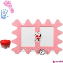 قاب نقاشی کف دست و پا نوزاد و کودک سگ Newborn hand and footprint