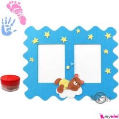 قاب نقاشی کف دست و پا نوزاد و کودک خرس Newborn hand and footprint