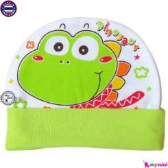 کلاه نخی کشی نوزاد و کودک سبز دایناسور تایلندی Newborn cotton hat