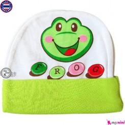کلاه نخی کشی نوزاد و کودک سبز قورباغه تایلندی Newborn cotton hat
