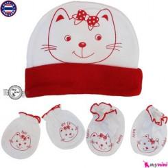 ست کلاه دستکش پاپوش نوزاد قرمز گربه تایلندی Newborn cotton set