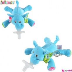 پستانک عروسکی جولی بی بی فیل آبی Jolly Baby soother animals doll