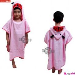 حوله اسکیپ هاپ تن پوش کفشدوزک Skip Hop Wearable Hooded Cartoon Bath Towel for Kids