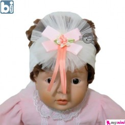 تل مو نوزاد بی بِی بی صورتی گل دار ترکیه Bibaby baby hair band