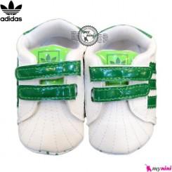 کفش اسپرت کودک آدیداس سفید و سبز Adidas baby shoes