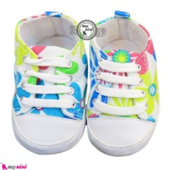 کفش بچه استُپ دار گل دار آبی Girl Shoes