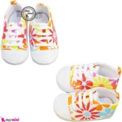 کفش بچه استُپ دار گل دار صورتی Girl Shoes