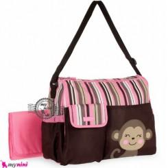 ساک لوازم نوزاد میمون صورتی Baby monkey diaper bag