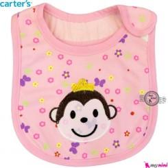 پیش بند کارترز سه لایه صورتی میمون Carter's baby bibs