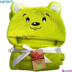 پتو کارترز کلاهدار خرس سبز Carter's baby hooded blanket