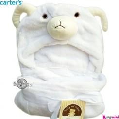 پتو کلاه دار کارترز سفید گوسفند carter's hooded blanket