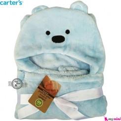 پتو دورپیچ و کلاه دار نوزاد و کودک آبی خرس کارترز carter's