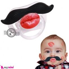 پستانک سبیل پوآرو و لب Baby mustache pacifier