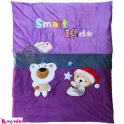 سرویس خواب مخمل بادمجانی خرس باهوش Baby Sleeping Set