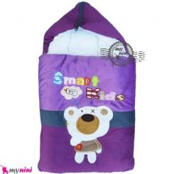 قنداق فرنگی نوزاد مخمل بادمجانی خرس باهوش Baby Sleeping Bag