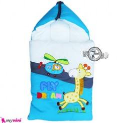 قنداق فرنگی نوزاد تترون فیروزه ای زرافه Baby Sleeping Bag