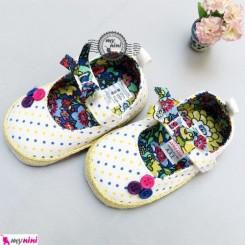 کفش دخترانه سفید سه دکمه Girl Shoes