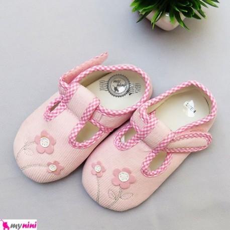 کفش دخترانه صورتی گلدار مخمل Girl Shoes
