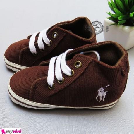 کفش بچگانه قهوه ای بندی پولو Polo baby shoes
