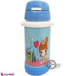 فلاسک و قمقمه فلزی آبی دختر و قلب Baby thermos flask