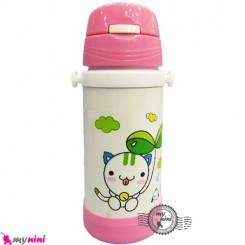 فلاسک و قمقمه استیل صورتی گربه Baby thermos flask
