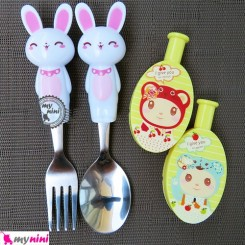 قاشق و چنگال استیل خرگوش سفید و درپوش زرد Cartoon Tableware