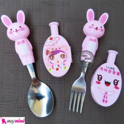 قاشق و چنگال عروسکی استیل خرگوش صورتی Cartoon Tableware