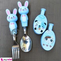قاشق و چنگال عروسکی استیل خرگوش آبی Cartoon Tableware