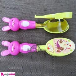قاشق و چنگال عروسکی استیل خرگوش سرخابی Cartoon Tableware