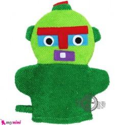 لیف عروسکی کودک ربات سبز Baby cartoon bath fiber
