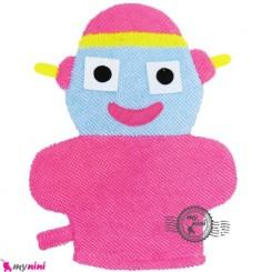 لیف حمام عروسکی کودک ربات صورتی Baby cartoon bath fiber