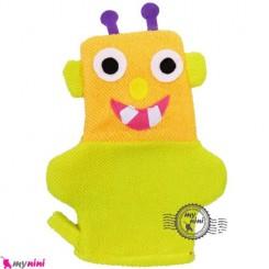 لیف عروسکی کودک آدم فضایی زرد Baby cartoon bath fiber