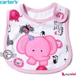 پیشبند کارترز پنبه ای صورتی فیل Carters baby cotton bib
