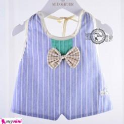 پیشبند طرح جلیقه پنبه ای آبی Baby bow tie bib