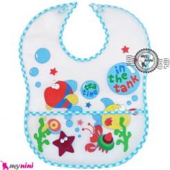 پیشبند نایلونی کاسه ای آبی دریایی Baby waterproof bib