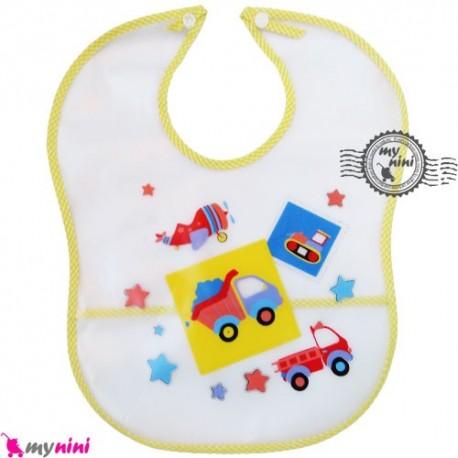 پیشبند نایلونی کاسه ای زرد کامیون Baby waterproof bib