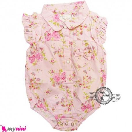 لباس زیردکمه دار نخی گلدار Baby short sleeve bodysuits