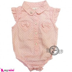 لباس زیردکمه دار نخی خالدار Baby short sleeve bodysuits