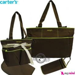 ساک لوازم نوزاد کارترز 4 تکه قهوه ای Carter's baby diaper bag 4pcs