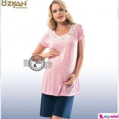 لباس بارداری اوزکان ترکیه صورتی یقه تور Ozkan Pregnancy Clothes