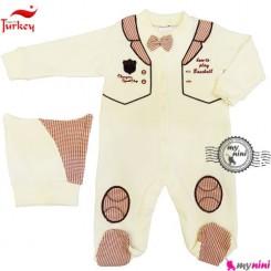 سرهمی پنبه ای طرح جلیقه کلاهدار ترکیه Baby cotton sleepsuit