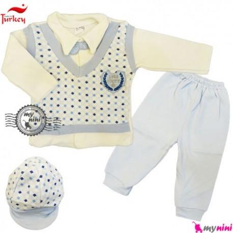 بلوز شلوار کلاه نخی ترکیه آبی شطرنجی Baby tshirt and pants